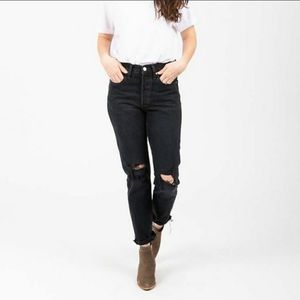 Levi's 501 button fly black distressed & rip jeans